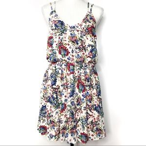 Hem & Thread Floral Print Rayon Dress Size Small